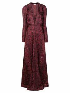 Victoria Beckham deep V-neck floor length dress - Red