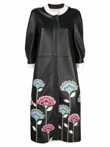 Carolina Herrera embroidered floral coat - Black