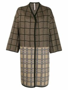Antonio Marras check contrast panel coat - GOLD