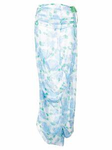 yuhan wang peony print drape skirt - Blue