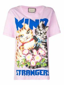 Gucci Kind Strangers cat print T-shirt - Pink