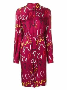 Emilio Pucci Pucci Logo Print Silk Belted Shirt Dress - Red