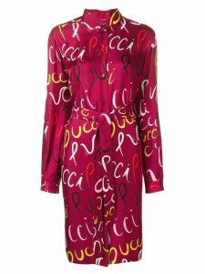 Emilio Pucci Pucci Logo Print Silk Belted Shirt Dress - Red