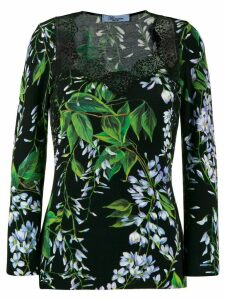 Blumarine floral-print top - Black