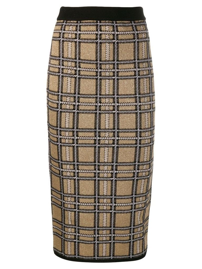 Antonio Marras checked fitted skirt - Gold