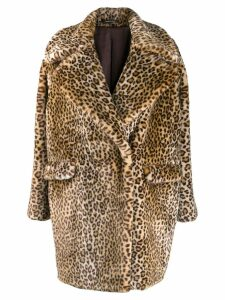 Tagliatore leopard print coat - Brown