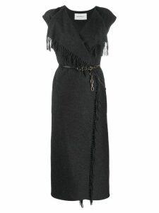 Salvatore Ferragamo fringe detail knitted dress - Black