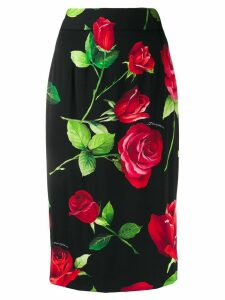 Dolce & Gabbana roses print pencil skirt - Black