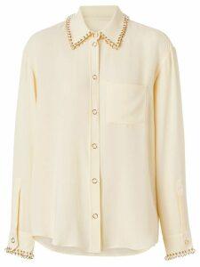Burberry ring-pierced silk oversized shirt - Neutrals
