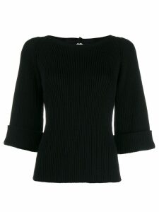 Red Valentino boat neck ribbed jumper - Black