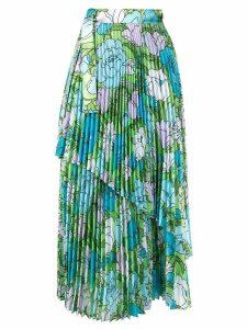 Richard Quinn floral pleated skirt - Blue