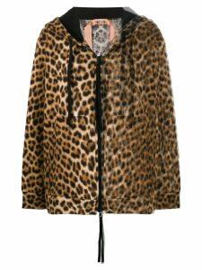 Nº21 animal print hooded jacket - Brown