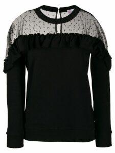 Red Valentino sheer panel ruffled sweatshirt - Black