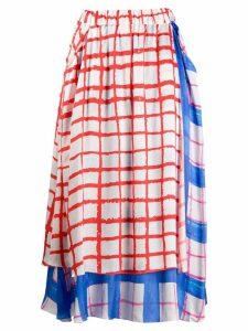 Mira Mikati layered plaid skirt - White