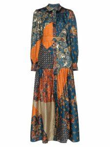 Evi Grintela Elsa patchwork silk maxi dress - Blue