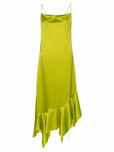 Marques'Almeida asymmetric hem silk dress - Green