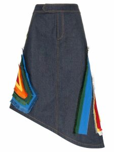 Angel Chen embroidered denim skirt - Blue