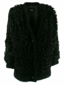 Miu Miu oversized faux-shearling coat - Black