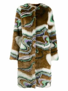 Marco De Vincenzo faux fur wave print coat - Brown
