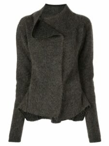 Rick Owens off-centre collar cardigan - Black