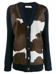 Tory Burch cow knit panelled cardigan - Blue