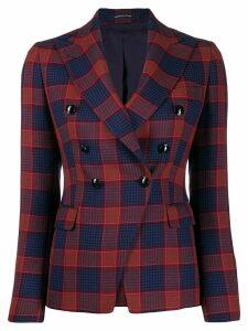Tagliatore check double breasted blazer - Blue