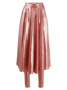 MSGM pleated shine-effect skirt - Pink