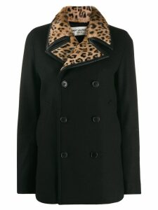Saint Laurent leopard print collar double-breasted coat - Black