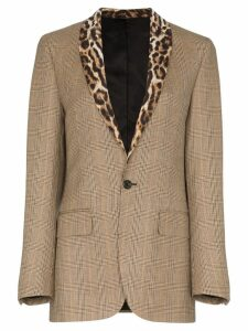 R13 leopard-print lapel check blazer - Brown
