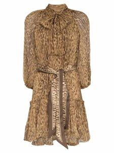 Zimmermann leopard print mini dress - Brown