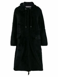 Inès & Maréchal hooded single-breasted coat - Black