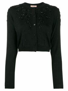 Twin-Set cropped bead-embellished cardigan - Black
