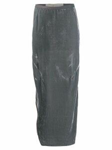 Rick Owens velvet straight skirt - Blue
