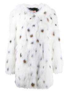Yves Salomon Army dot printed coat - White
