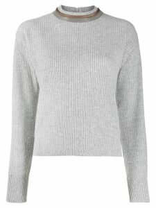 Brunello Cucinelli bead-embellished neck jumper - Grey