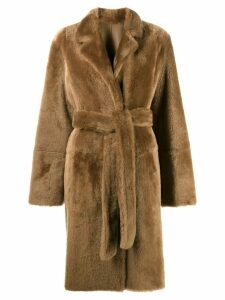 Yves Salomon Army reversible mid-length coat - Brown