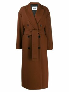 MSGM double-breasted virgin wool coat - Brown