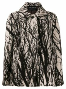 Erika Cavallini abstract print oversized coat - Brown