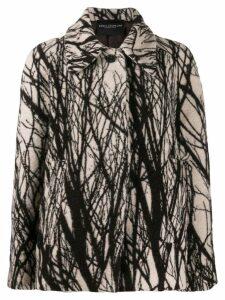 Erika Cavallini abstract print oversized coat - Brown