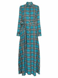 Evi Grintela Valerie check maxi dress - Blue
