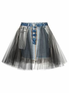 Unravel Project tulle overlay denim skirt - Blue