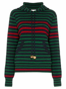 Wales Bonner striped drawstring hoodie - Blue
