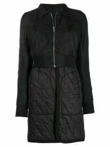 Rick Owens panelled layered coat - Black