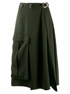 Prada spring-ring fastening flared skirt - Green