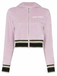 Palm Angels cropped logo hoodie - Purple