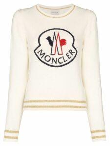Moncler logo-embroidered jumper - White