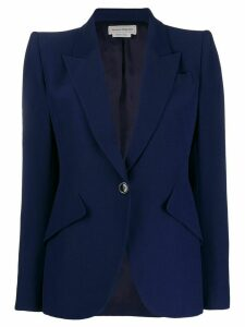 Alexander McQueen exaggerated shoulder blazer jacket - Blue