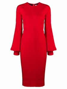 Victoria Beckham slash sleeve fitted midi dress - Red