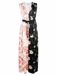 Arias mixed print v-neck belted gown - Black