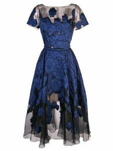 Oscar de la Renta flared floral dress - Blue